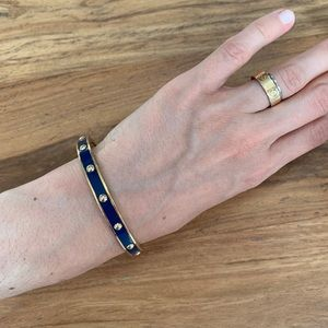 Coach Jewelry - Coach Blue Enamel and Gold Bangle Bracelet